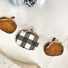 Buffalo Check Stained Wood Pumpkin Banner