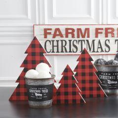Buffalo Check Tabletop Christmas Tree Set of 3