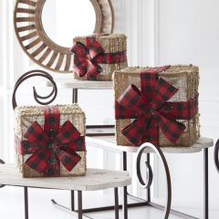 Burlap and Bow Boxes Set of 3