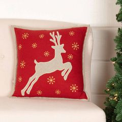 Burlap Reindeer Silhouette Accent Pillow 18x18