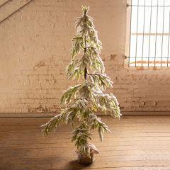 Burlap Wrapped Icy Christmas Tree Large