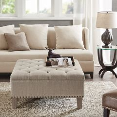 Button Tufted Square Cocktail Ottoman