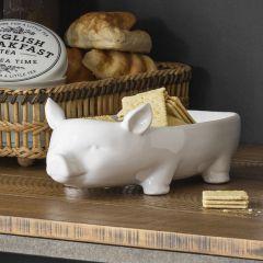 Large White Pig Bowl