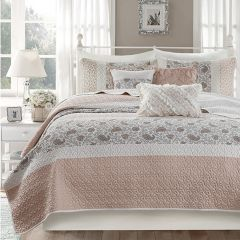 6-Piece Quilted Paisley Reversible Coverlet Set