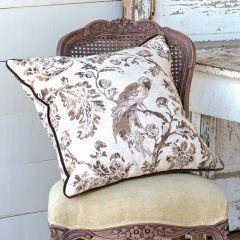Toile Bird Decorative Pillow