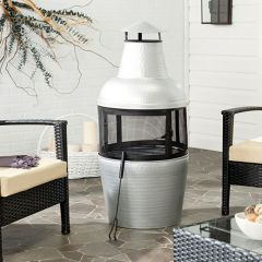 Hammered Iron Chiminea Fire Pit