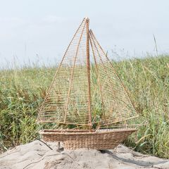 Water Hyacinth With Rattan Sailboat