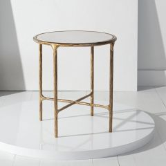 Marble Top Forged Metal Round End Table