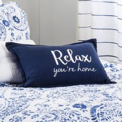 Relax Embroidered Throw Pillow Cover