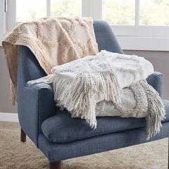 Smoky Cotton Tufted Throw Blanket