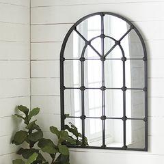 Industrial Farmhouse Arched Windowpane Wall Mirror