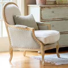 Pale Upholstered Farmhouse Chair