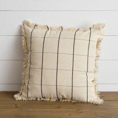 Windowpane Plaid Throw Pillow With Fringe