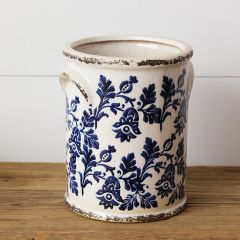 Distressed Floral Pattern Vase