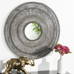 Intricate Lines Round Wall Mirror