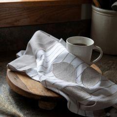Embroidered Leaf Applique Tea Towel Set of 2