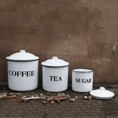 White Enamel Kitchen Canisters Set of 3