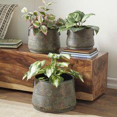 Rustic Metal Planter Pot Collection Set of 3