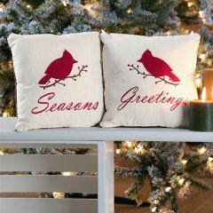 Seasons Greeting Cardinal Pillows Set of 2
