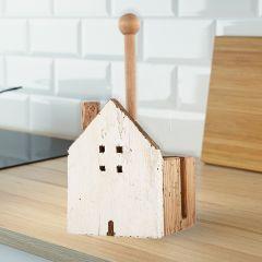 Reclaimed Wood House Paper Towel Holder