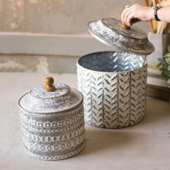 Decorative Pressed Tin Storage Canisters Set of 2
