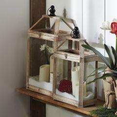 Cottage Fir Wood Candle Lantern Set of 2