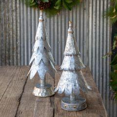 Tinwork Tabletop Christmas Tree Set of 2
