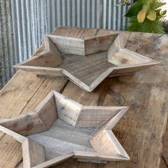 Reclaimed Wood Star Shaped Bowl Set of 2
