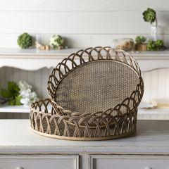 Round Rattan Basket Tray Set of 2