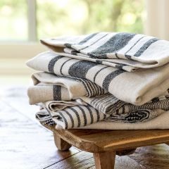 French Country Stripe Linen Dish Towel Set of 3