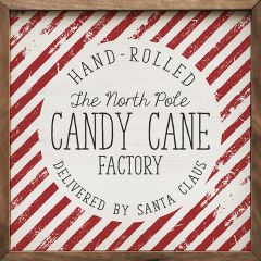 Candy Cane Factory Framed Holiday Sign
