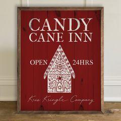 Candy Cane Inn Framed Holiday Wall Decor