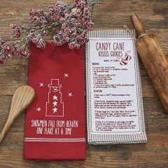 Candy Cane Kisses Recipe Holiday Dish Towel Set of 2