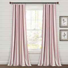 Striped Country Window Curtain Panel Set of 2