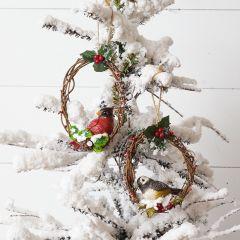 Bird On Twig Wreath Ornament Set of 2