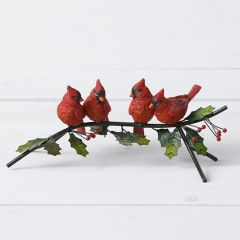 Cardinals On Holly Branch Tabletop Decor
