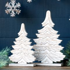 Carved Wood Spruce Tree Tabletop Decor Set of 2