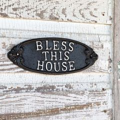 Cast Iron Bless This House Plaque Set of 2