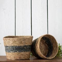 Handmade Simple Stripe Storage Basket Set of 2