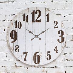 Distressed Wood Metal Numbers Wall Clock
