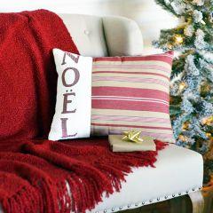 Striped Noel Throw Pillow