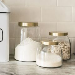 Round Glass Jars With Lids Set of 3