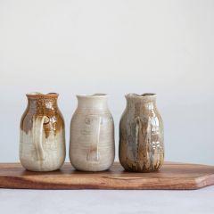 Stoneware Pitcher with Reactive Glaze Set of 3