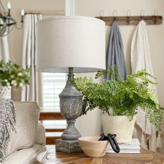 Distressed Table Lamp With Linen Shade