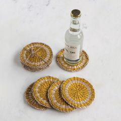 Bright Seagrass Round Coasters Set of 4