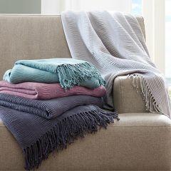 Ruched Fringe Throw Blanket Grey