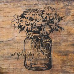 Rustic Simple Flowers in Mason Jar Canvas Wall Art
