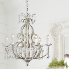6 Light Elegant Beaded Crystal Chandelier