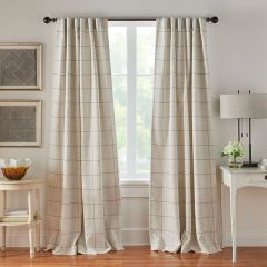 Linen Stripe Plaid Room Darkening Curtain Panel Set of 2 52x84