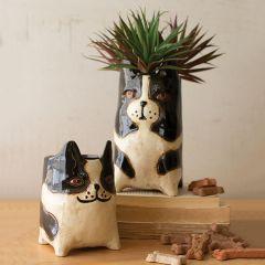 Adorable Ceramic Dog Planter Set of 2